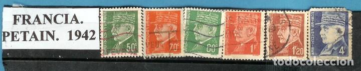 LOTE DE SELLOS DE FRANCIA. SERIE PETAIN 1942 (Sellos - Extranjero - Europa - Rumanía)