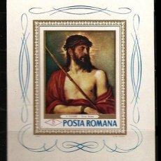 Sellos: RUMANIA 1968 - CUADROS DE LOS MUSEOS DE BUCAREST - ECCE HOMO - TIZIANO - YVERT BLOCK Nº 66**. Lote 206570292