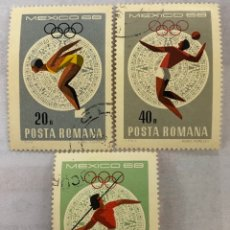 Sellos: LOTE 3 SELLÓ RUMANIA JUEGOS OLÍMPICOS MÉXICO 1968. Lote 207881106