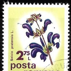 Sellos: RUMANIA 1975. FLORES. CONFERENCIA BOTÁNICA INTERNACIONAL. SALVIA PRATENSIS. Lote 209771538