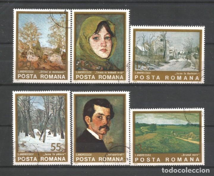 RUMANÍA AÑO 1975 SERIE DE SELLOS Nº 2884/2889 USADA CATÁLOGO YVERT TEMA PINTURA. (Sellos - Extranjero - Europa - Rumanía)