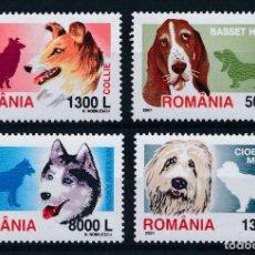 Sellos: RUMANIA 2001 IVERT 4675/8 *** FAUNA - PERROS DE RAZA. Lote 215261997
