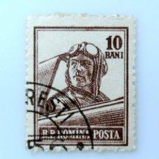 Sellos: SELLO POSTAL RUMANIA 1955 , 10 BAN , PILOTO, USADO. Lote 233877340