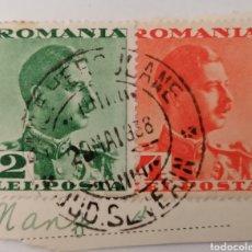 Sellos: RUMANIA. 2 SELLOS 2 Y 4 LEI. PEGADOS A TROZO DE POSTAL. MATASELLO, 1938. Lote 252529875