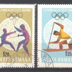 Sellos: RUMANIA, PREOBLITERADOS, CON GOMA, MEJICO 68. Lote 262800085