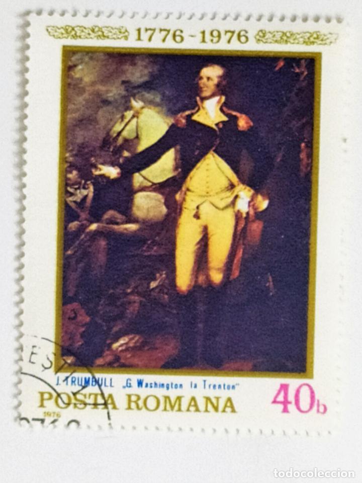SELLO DE RUMANIA 40 B - 1976 - WASHINGTON - USADO SIN SEÑAL DE FIJASELLOS (Sellos - Extranjero - Europa - Rumanía)