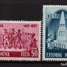 Sellos: RUMANIA 1548/49** - AÑO 1957 - 520º ANIVERSARIO DE LA REVOLUCION OBRERA DE BOBILNA. Lote 276380103