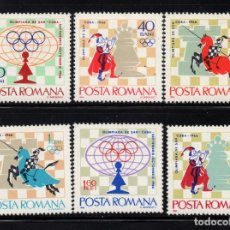 Sellos: RUMANIA 2193/98** - AÑO 1966 - CAMPEONATO INTERNACIONAL DE AJEDREZ DE LA HABANA. Lote 276384788
