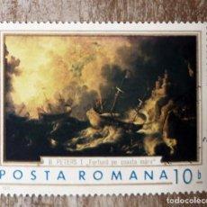 Sellos: SELLO USADO RUMANÍA RUMANIA 1971- PINTURA - MARINA DE LUDOLF BACKHUYSEN. Lote 278288703