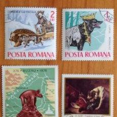 Sellos: LOTE 4 SELLOS DE RUMANIA - TRINEO - PERROS - CAN. Lote 295412703