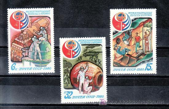 RUSIA 4733/5 SIN CHARNELA, ESPACIO, VUELO ESPACIAL SOVIETICO - CUBANO, (Sellos - Extranjero - Europa - Rusia)