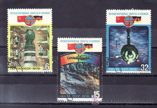 RUSIA 4524/6 USADA, ESPACIO, COOPERACION ESPACIAL CON ALEMANIA DEMOCRATICA, (Sellos - Extranjero - Europa - Rusia)