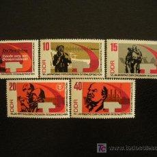 Sellos: ALEMANIA ORIENTAL DDR 1967 IVERT 1009/13 *** 50º ANIVERSARIO REVOLUCIÓN RUSA DE OCTUBRE. Lote 14995379