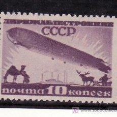 Sellos: RUSIA A 22 CON CHARNELA, DIRIGIBLE SOBREVOLANDO FABRICA, CAMELLOS Y RENOS. Lote 22054858