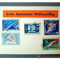 Sellos: TARJETA POSTAL - PRIMER DIA VUELO ESPACIAL TRIPULADO - UNION SOVIETICA AÑO 1961. Lote 27594475