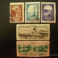 Sellos: RUSIA 1957 IVERT 1924/8 - 250º ANIVERSARIO DE LA FUNDACIÓN DE SAN PETESBURGO - MONUMENTOS. Lote 28610107