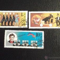 Briefmarken - Rusia. 5660/61 y 5664 Aniversario Circo soviético. 1989. Sellos usados y numeración Yvert. - 43759580