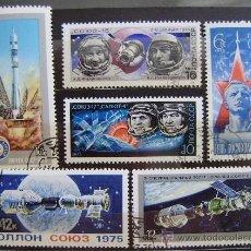 Sellos: RUSIA - IVERT 4130/32 + 4158-59-60 USADOS - DIA DE LA COSMONAUTICA Y MISION APOLO-SOYOUZ. Lote 46216700