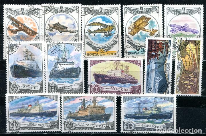 3 series completas de Rusia  Tema barcos y aviones  Matasellados  Ver  descripción
