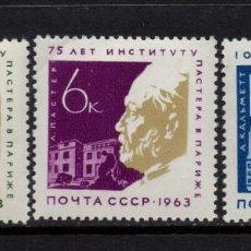 Sellos: RUSIA 2732/34** - AÑO 1963 - 75º ANIVERSARIO DEL INSTITUTO PASTEUR DE PARIS. Lote 268174954