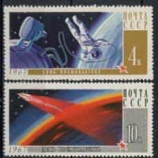 Sellos: RUSIA 1967 IVERT 3212/14 *** DIA DE LOS ASTRONAUTAS - CONQUISTA DEL ESPACIO. Lote 140012886