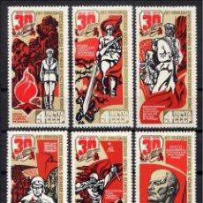 Sellos: RUSIA 1975 - 30 ANIVERSARIO DE LA VICTORIA - YVERT Nº 4137-4142**. Lote 140143734