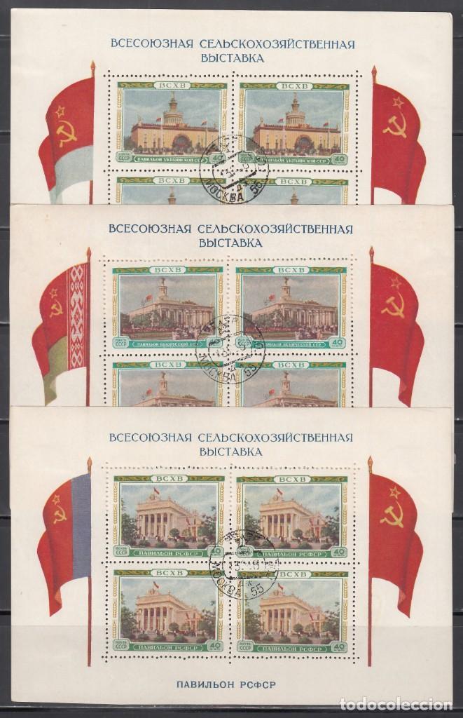 RUSIA, 1955 YVERT Nº 18,19, 20, EXPOSICIÓN AGRÍCOLA DE TODA LA UNIÓN (BCXB) (Sellos - Extranjero - Europa - Rusia)