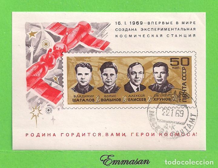RUSIA - MICHEL 54 - YVERT 53 - H.B. - MATASELLO 1º DÍA - ENSAMBLAJE DEL SOYUZ IV Y SOYUZ V. (1969). (Sellos - Extranjero - Europa - Rusia)