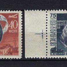 Sellos: 1949 RUSIA-URSS-UNIÓN SOVIÉTICA YVERT 1366/1367 75 ANIVERSARIO U.P.U. MNH** NUEVOS SIN FIJASELLOS. Lote 259961525