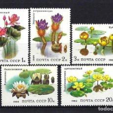 Sellos: 1984 RUSIA-URSS-UNIÓN SOVIÉTICA YVERT 5095/5099 FLORA, FLORES ACUÁTICAS MNH** NUEVOS SIN FIJASELLOS. Lote 262877560