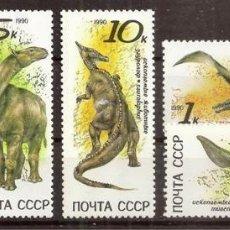 Sellos: URSS - RUSIA. 1990. YVERT 5780/5784 ***. ANIMALES PREHISTORICOS.. Lote 297049358