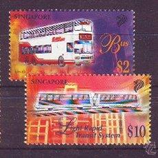 SINGAPUR/SINGAPORE.AÑO 1997.TRANSPORTES.TRENES.FERROCARRIL.SERIE 4 SELLO GRABADOS POR CZESLAW SLANIA