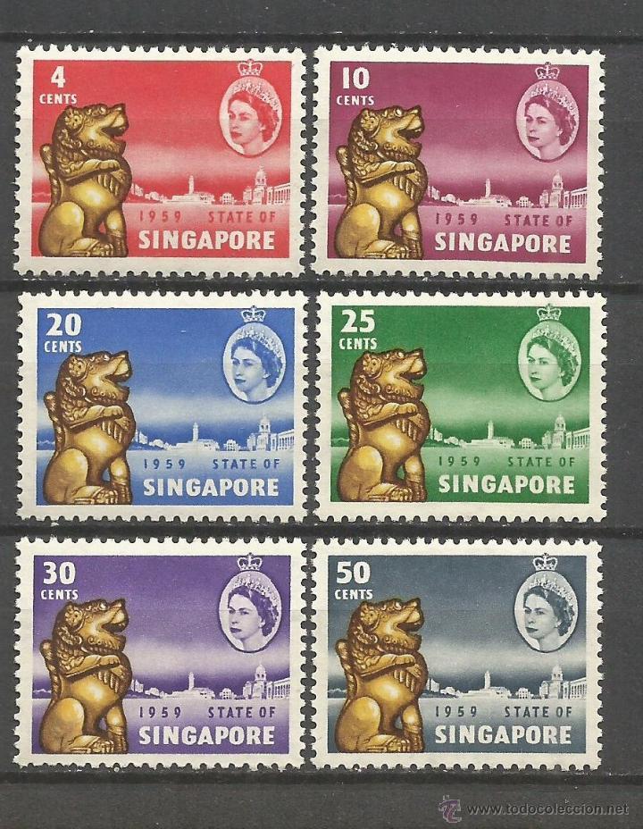 SINGAPUR COLONIA BRITANICA YVERT NUM. 43/8 * SERIE COMPLETA CON FIJASELLOS (Sellos - Extranjero - Asia - Singapur)