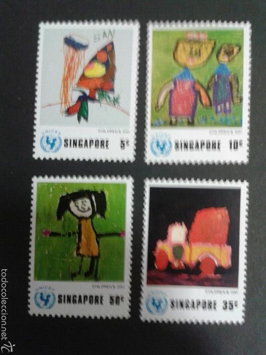 SELLOS DE SINGAPUR. DIBUJOS INFANTILES. YVERT 217/20. SERIE COMPLETA NUEVA SIN CHARNELA. (Sellos - Extranjero - Asia - Singapur)