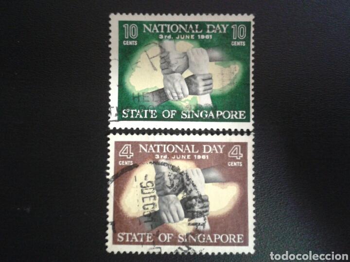 SINGAPUR. YVERT 51/2. SERIE COMPLETA USADA. MANOS (Sellos - Extranjero - Asia - Singapur)