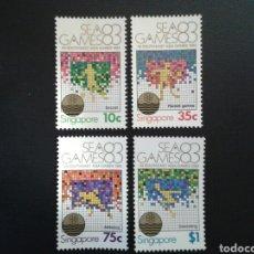 Sellos: SINGAPUR. YVERT 414/7. SERIE COMPLETA NUEVA SIN CHARNELA. DEPORTES. Lote 110845582