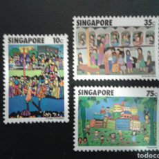 Sellos: SINGAPUR. YVERT 284/6. SERIE COMPLETA NUEVA SIN CHARNELA. DIBUJOS INFANTILES.. Lote 110845820
