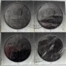 Sellos: SINGAPUR, HOJA BLOQUE CUATRO SELLOS REDONDOS PLATEADOS DE . Lote 126627891