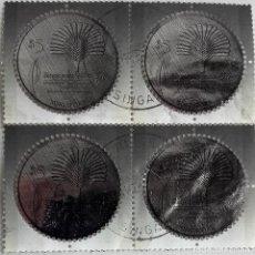Sellos: SINGAPUR, HOJA BLOQUE CUATRO SELLOS REDONDOS PLATEADOS DE . Lote 139690418