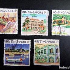 Sellos: SINGAPUR, ARQUITECTURA COLONIA Y VISTAS. Lote 190898362