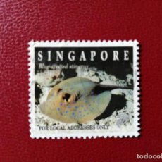 Sellos: SINGAPUR - SIN VALOR FACIAL - FAUNA - PECES - RAYA - BLUE SPOTTED STINGRAY . Lote 195681026