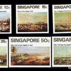 Sellos: SINGAPUR 1971 - PINTURAS DEL SIGLO XIX - YVERT 143/148**. Lote 204186015