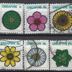 Sellos: SINGAPUR 1973 - FLORES, 6 VALORES - SELLOS USADOS. Lote 207704827