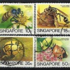 Sellos: SINGAPUR 1985 - FAUNA, INSECTOS, S.COMPLETA - SELLOS USADOS. Lote 207707513