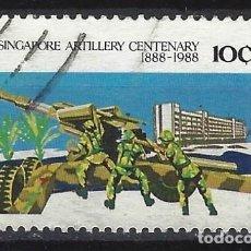 Sellos: SINGAPUR 1988 - CENTENARIO DE LA ARTILLERÍA DE SINGAPUR - SELLO USADO. Lote 207707771
