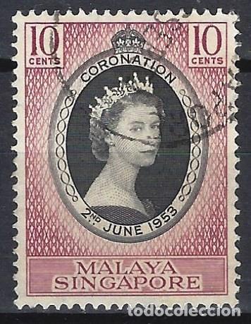 SINGAPUR 1953 - CORONACIÓN DE LA REINA ISABEL II - USADO (Sellos - Extranjero - Asia - Singapur)
