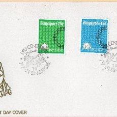 Sellos: SOBRE 1R.DIA CENTENARIO UPU, 1974, SINGAPUR , MICHEL 215-217. Lote 214337856