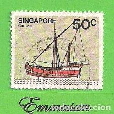Sellos: SINGAPUR - MICHEL 349X - YVERT 341 - BARCOS - CARABELA. (1980).. Lote 216955776