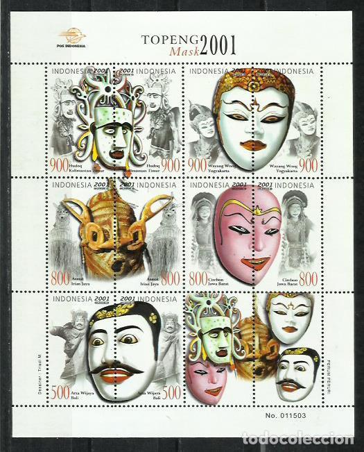 J136-MNH** HOJA BLOQUE 2001 MASCARAS , PRECIOSA ,BONITOS SELLOS , ASIA. (Sellos - Extranjero - Asia - Singapur)