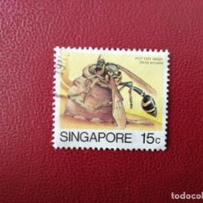 Sellos: SINGAPUR - VALOR FACIAL 15 C - AÑO 1985 - FAUNA - INSECTOS - DELTA ARCUATA - YV 457. Lote 221238181